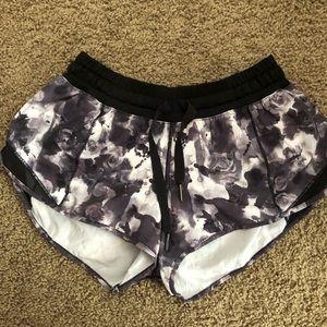 Black Floral Lululemon Hottie Hot Shorts